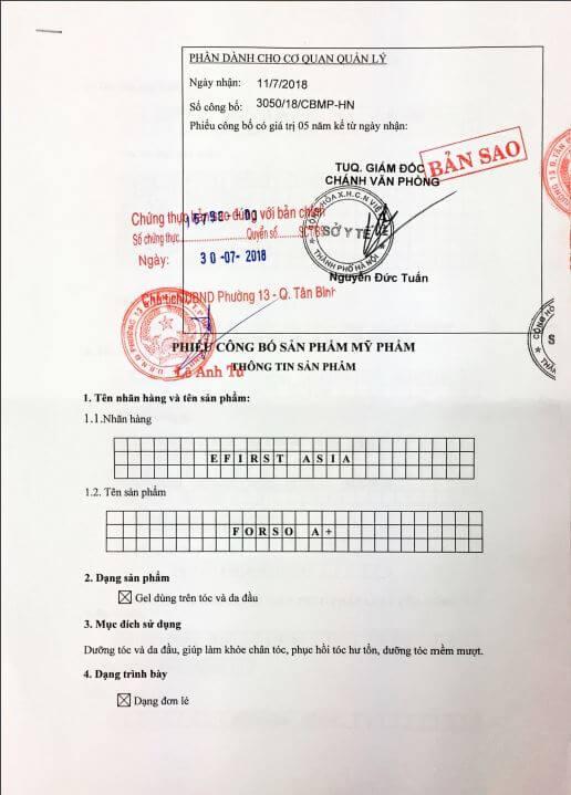 giấy phép Thuốc Mọc Tóc Forso A+