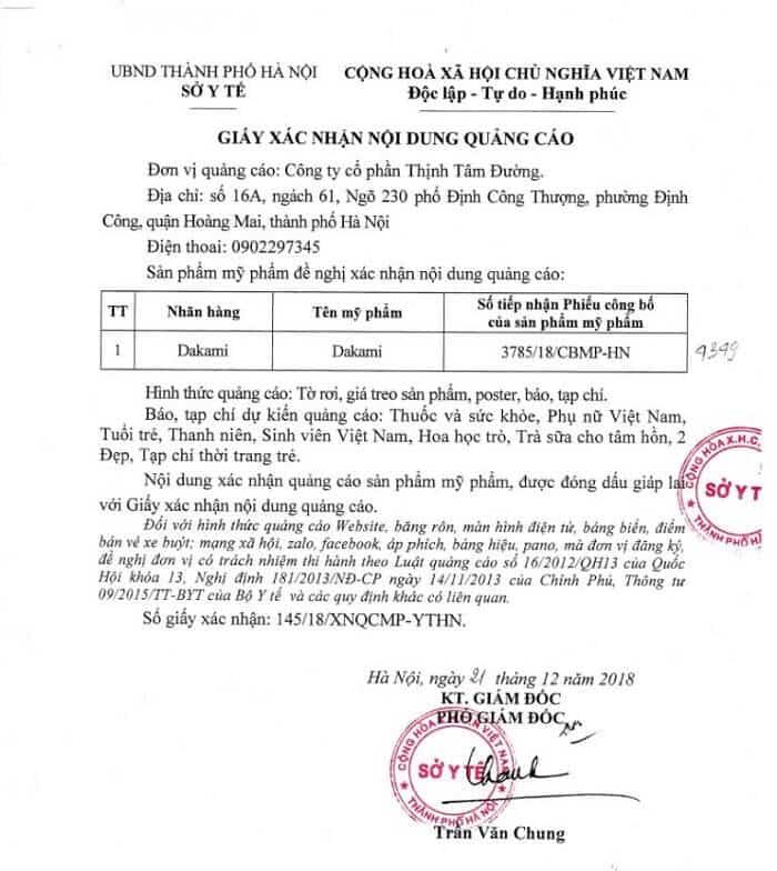 giấy chứng nhận kem chống lão hóa dakami