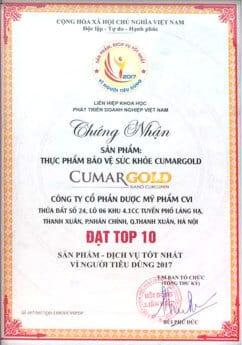CumargoldNano Curcumin giấy chứng nhận