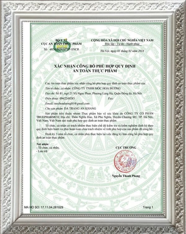 giấy phép của dạ tràng an khang