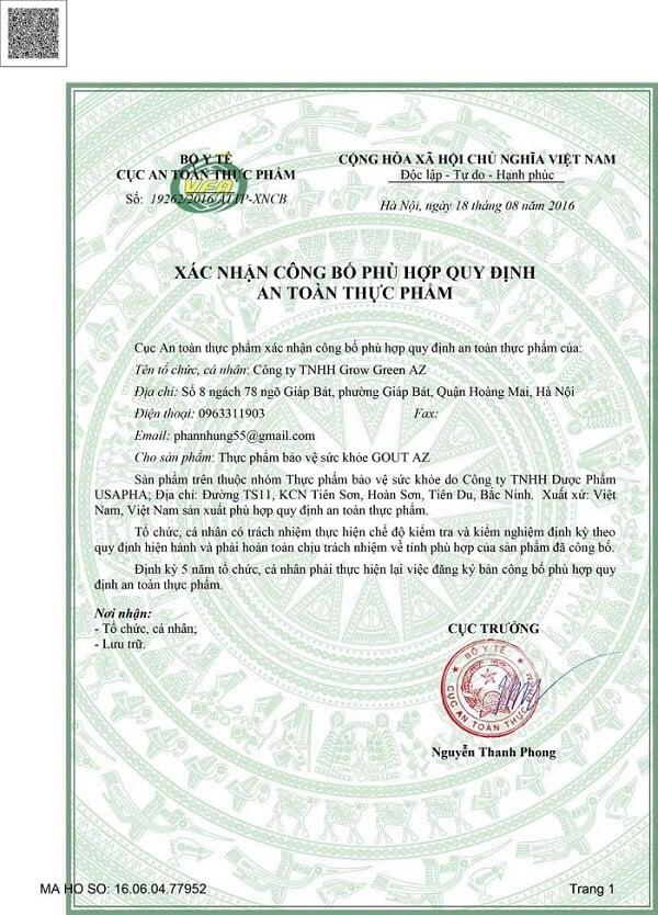 giấy phép thuốc trị gout az
