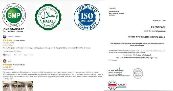 giấy chứng nhận Instant AgebackVitayes