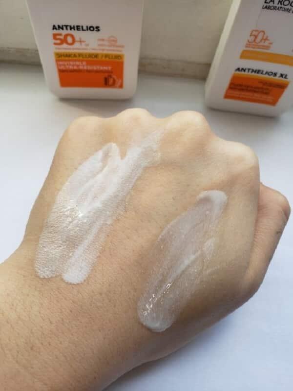 Kem chống nắng SPF 50 - La Roche-Posay Anthelios Shaka Ultra-Light Facial Sun Cream trên da