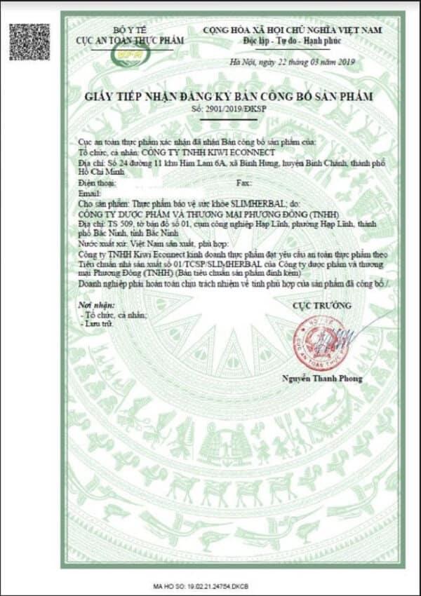 slimherbal giấy phép